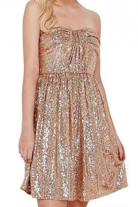 Sparkly Strapless Short Rose Gold Sequins Prom Dresses Wedding Party Bridesmaid Gowns